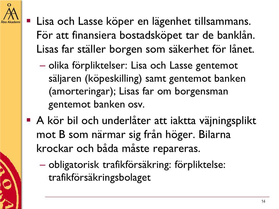 14  Lisa och Lasse köper en lägenhet tillsammans. För att finansiera bostadsköpet tar de banklån. Lisas far ställer borgen som säkerhet för lånet. –o