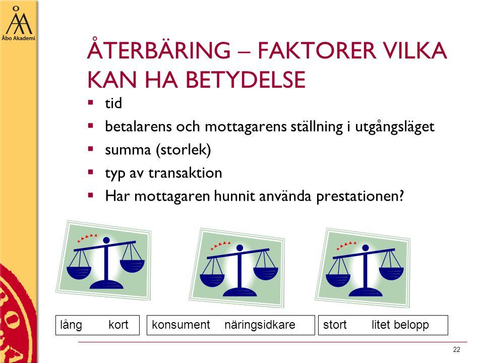 22 ÅTERBÄRING – FAKTORER VILKA KAN HA BETYDELSE  tid  betalarens och mottagarens ställning i utgångsläget  summa (storlek)  typ av transaktion  H