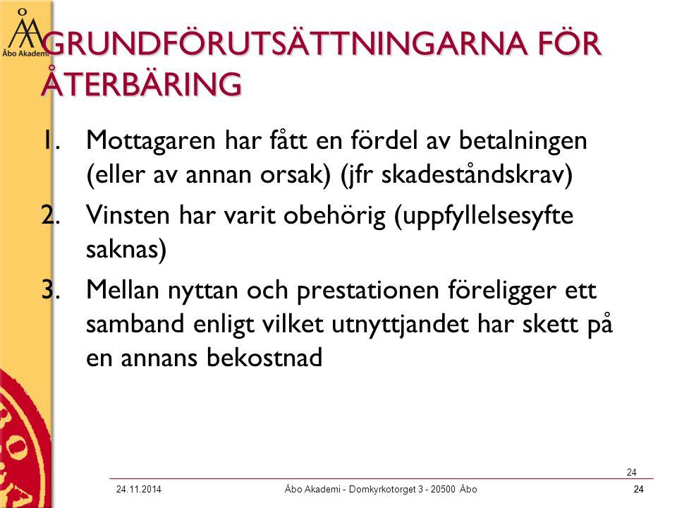 2424.11.2014Åbo Akademi - Domkyrkotorget 3 - 20500 Åbo24 GRUNDFÖRUTSÄTTNINGARNA FÖR ÅTERBÄRING 1.Mottagaren har fått en fördel av betalningen (eller a