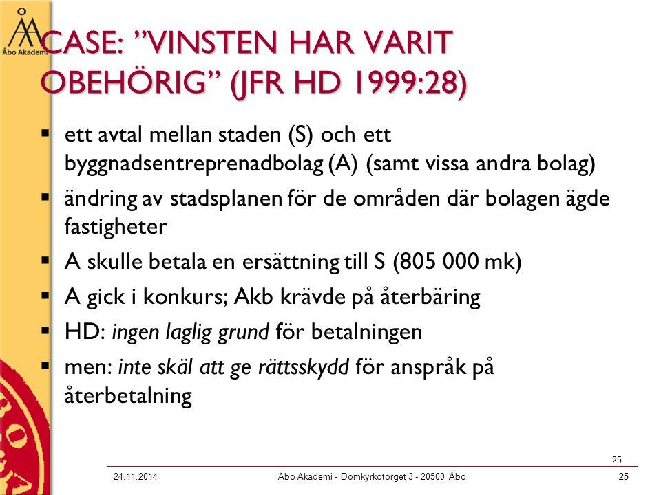 """2524.11.2014Åbo Akademi - Domkyrkotorget 3 - 20500 Åbo25 CASE: """"VINSTEN HAR VARIT OBEHÖRIG"""" (JFR HD 1999:28)  ett avtal mellan staden (S) och ett byg"""