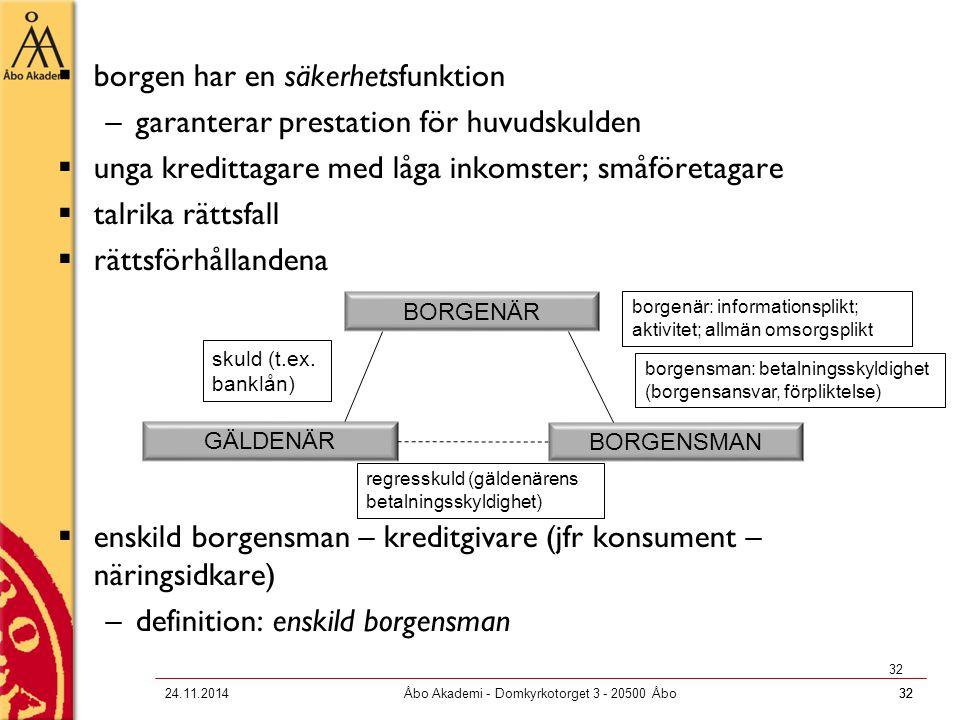 3224.11.2014Åbo Akademi - Domkyrkotorget 3 - 20500 Åbo32  borgen har en säkerhetsfunktion –garanterar prestation för huvudskulden  unga kredittagare
