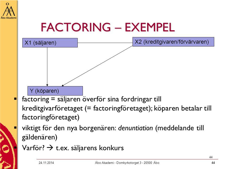 4424.11.2014Åbo Akademi - Domkyrkotorget 3 - 20500 Åbo44 FACTORING – EXEMPEL  factoring = säljaren överför sina fordringar till kreditgivarföretaget