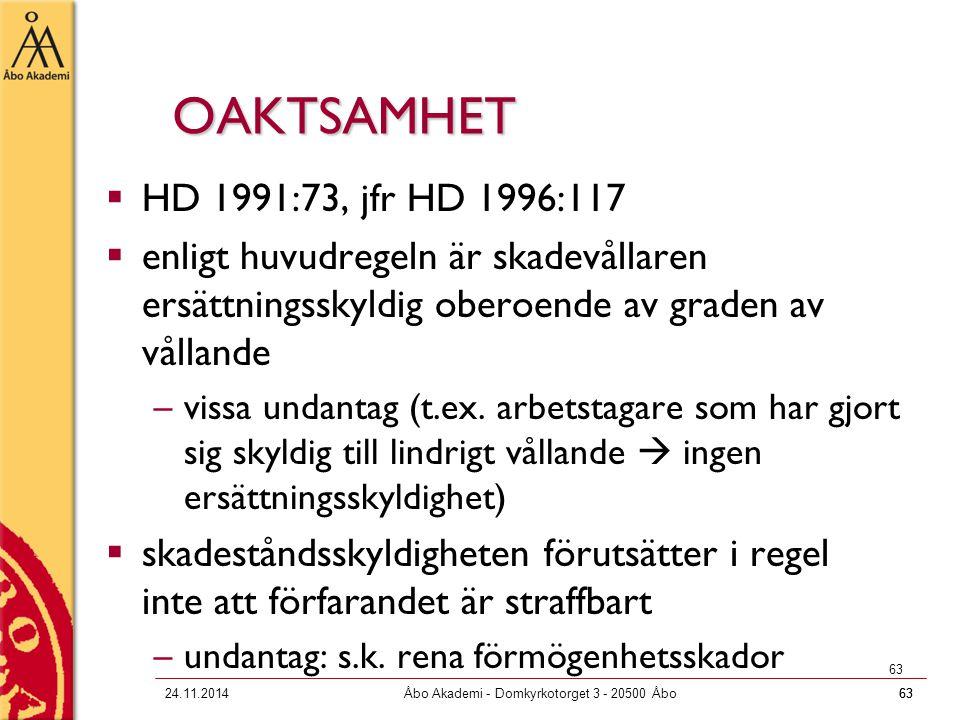 6324.11.2014Åbo Akademi - Domkyrkotorget 3 - 20500 Åbo63 OAKTSAMHET  HD 1991:73, jfr HD 1996:117  enligt huvudregeln är skadevållaren ersättningssky