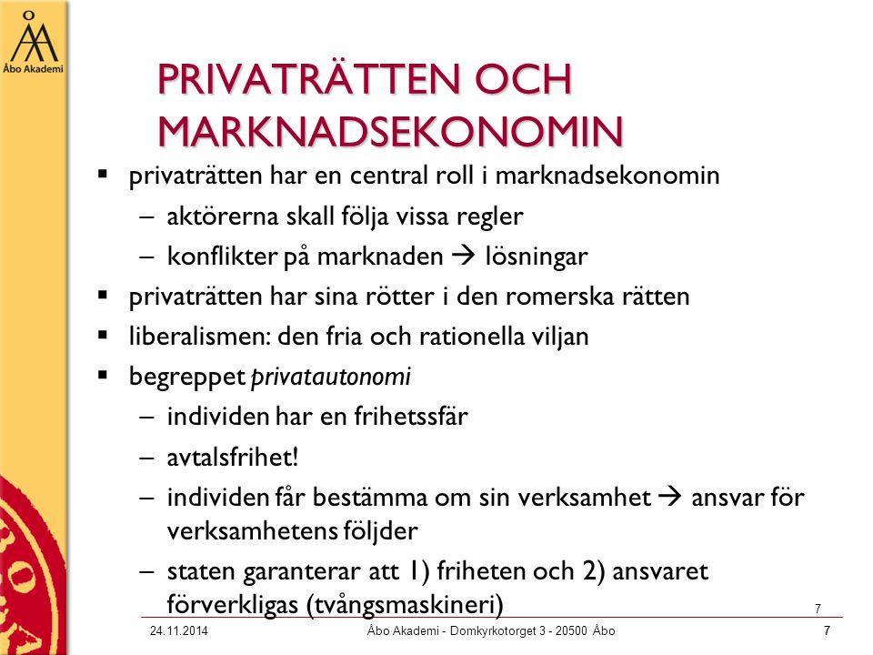 724.11.2014Åbo Akademi - Domkyrkotorget 3 - 20500 Åbo7 7 PRIVATRÄTTEN OCH MARKNADSEKONOMIN  privaträtten har en central roll i marknadsekonomin –aktö