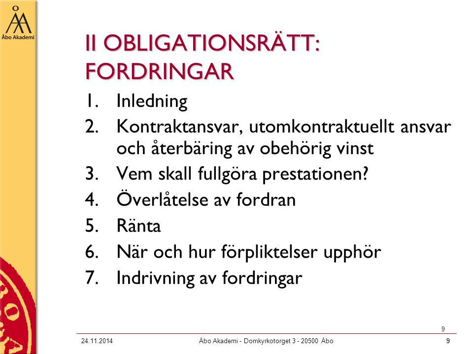 924.11.2014Åbo Akademi - Domkyrkotorget 3 - 20500 Åbo9 9 II OBLIGATIONSRÄTT: FORDRINGAR 1.Inledning 2.Kontraktansvar, utomkontraktuellt ansvar och åte