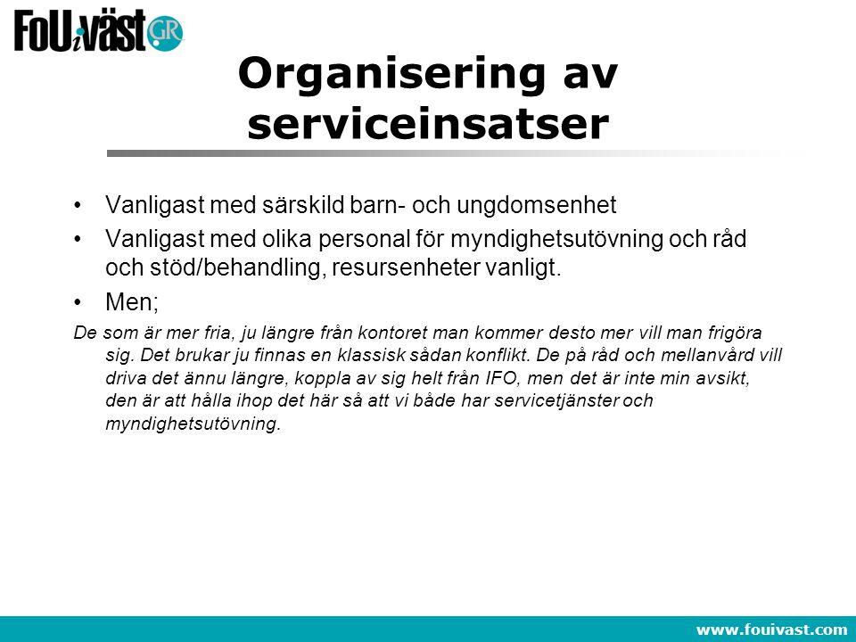 www.fouivast.com Organisering av serviceinsatser Vanligast med särskild barn- och ungdomsenhet Vanligast med olika personal för myndighetsutövning och