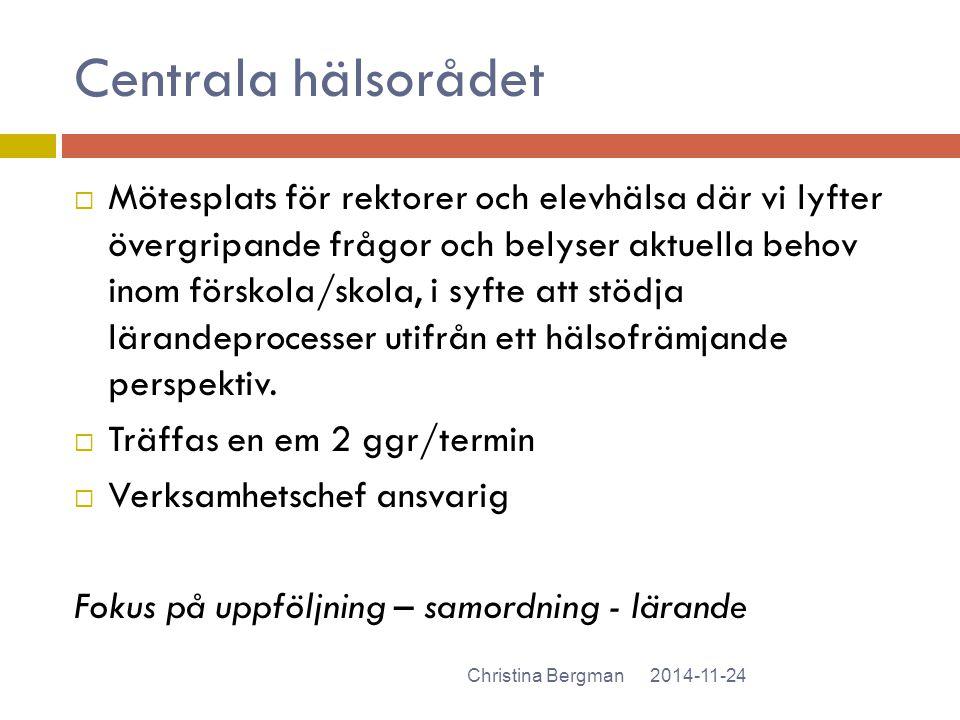 Centrala hälsorådet 2014-11-24Christina Bergman  Mötesplats för rektorer och elevhälsa där vi lyfter övergripande frågor och belyser aktuella behov i