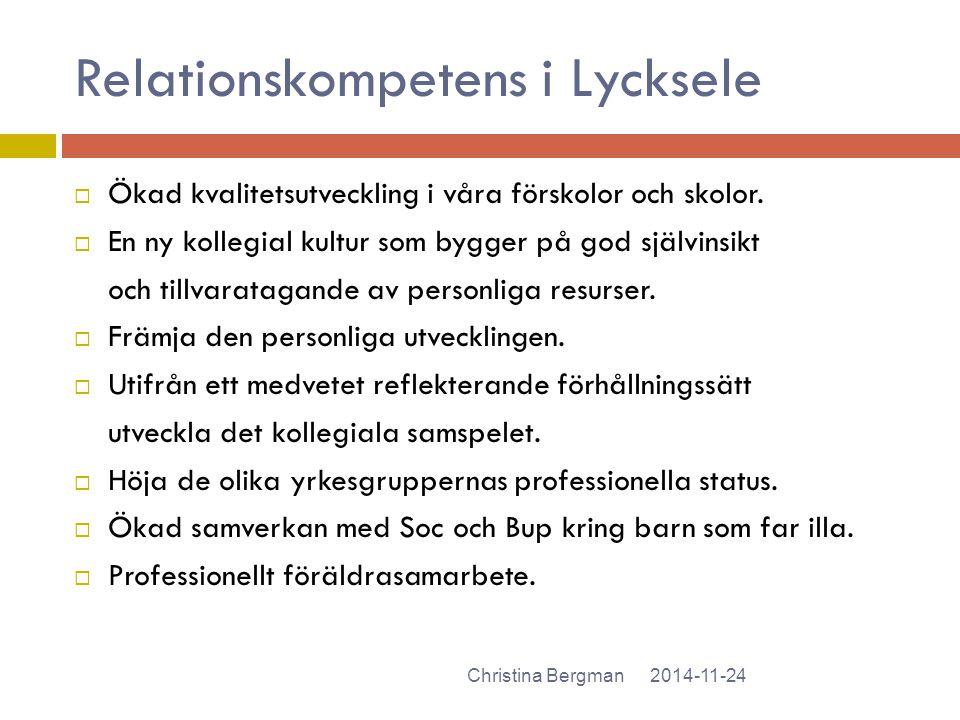 Relationskompetens i Lycksele 2014-11-24Christina Bergman  Ökad kvalitetsutveckling i våra förskolor och skolor.  En ny kollegial kultur som bygger