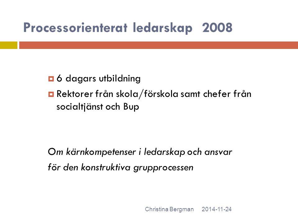 Processorienterat ledarskap2008 2014-11-24Christina Bergman  6 dagars utbildning  Rektorer från skola/förskola samt chefer från socialtjänst och Bup