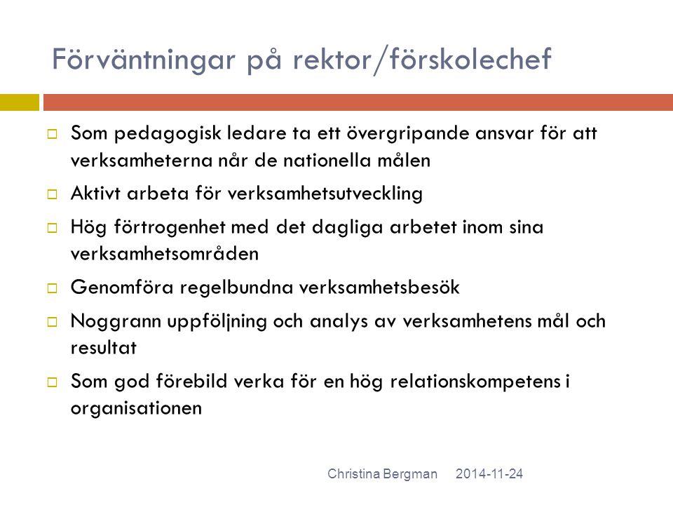 Förväntningar på rektor/förskolechef 2014-11-24Christina Bergman  Som pedagogisk ledare ta ett övergripande ansvar för att verksamheterna når de nati