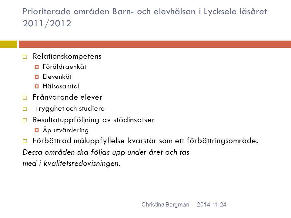 Prioriterade områden Barn- och elevhälsan i Lycksele läsåret 2011/2012  Relationskompetens  Föräldraenkät  Elevenkät  Hälsosamtal  Frånvarande el