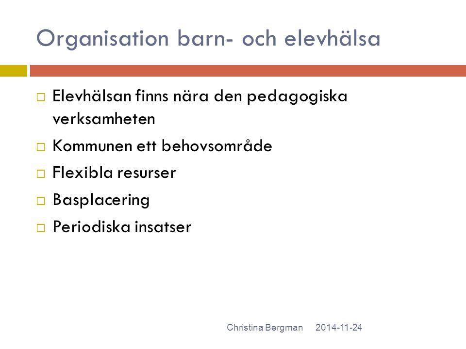 Organisation barn- och elevhälsa 2014-11-24Christina Bergman  Elevhälsan finns nära den pedagogiska verksamheten  Kommunen ett behovsområde  Flexib