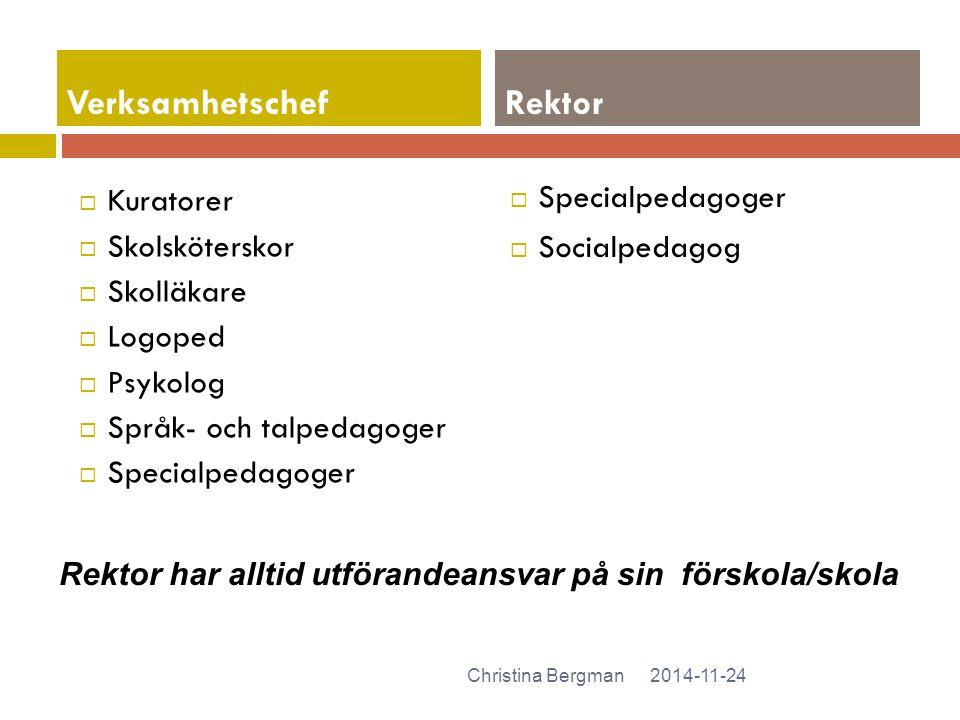  Kuratorer  Skolsköterskor  Skolläkare  Logoped  Psykolog  Språk- och talpedagoger  Specialpedagoger  Socialpedagog 2014-11-24Christina Bergma