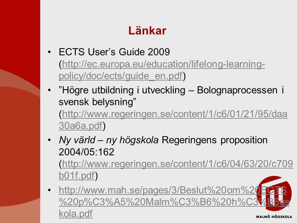 Länkar ECTS User's Guide 2009 (http://ec.europa.eu/education/lifelong-learning- policy/doc/ects/guide_en.pdf)http://ec.europa.eu/education/lifelong-learning- policy/doc/ects/guide_en.pdf Högre utbildning i utveckling – Bolognaprocessen i svensk belysning (http://www.regeringen.se/content/1/c6/01/21/95/daa 30a6a.pdf)http://www.regeringen.se/content/1/c6/01/21/95/daa 30a6a.pdf Ny värld – ny högskola Regeringens proposition 2004/05:162 (http://www.regeringen.se/content/1/c6/04/63/20/c709 b01f.pdf)http://www.regeringen.se/content/1/c6/04/63/20/c709 b01f.pdf http://www.mah.se/pages/3/Beslut%20om%20ECTS %20p%C3%A5%20Malm%C3%B6%20h%C3%B6gs kola.pdfhttp://www.mah.se/pages/3/Beslut%20om%20ECTS %20p%C3%A5%20Malm%C3%B6%20h%C3%B6gs kola.pdf
