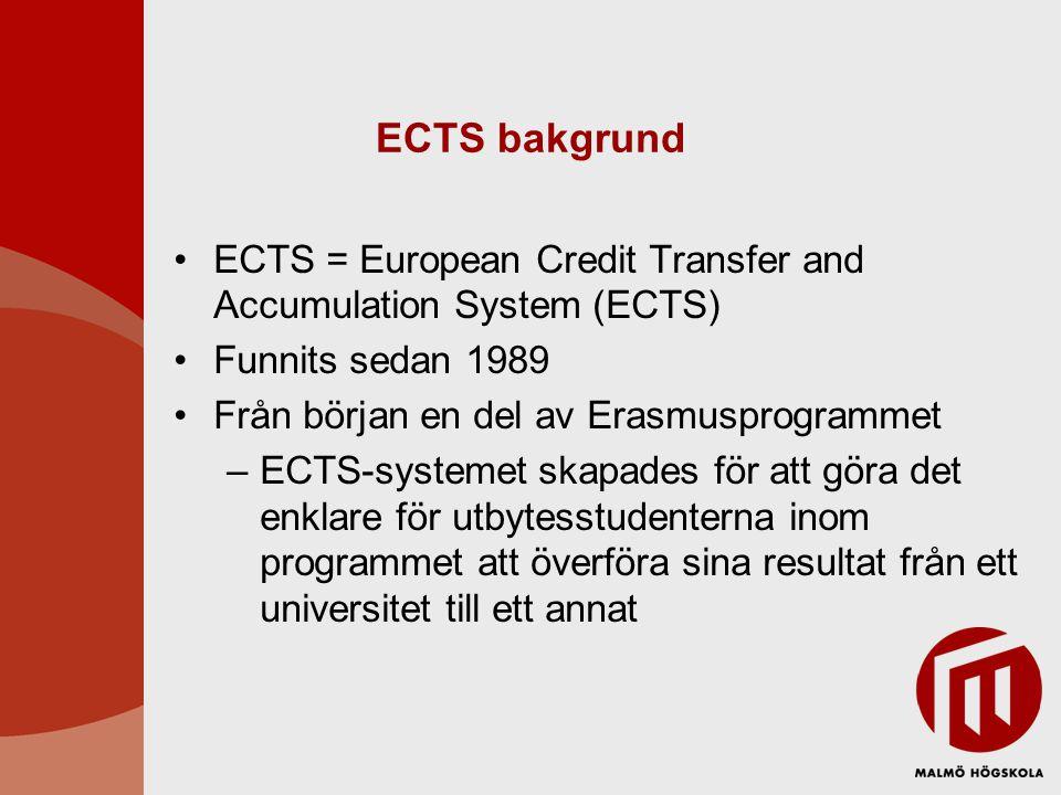 ECTS bakgrund ECTS = European Credit Transfer and Accumulation System (ECTS) Funnits sedan 1989 Från början en del av Erasmusprogrammet –ECTS-systemet skapades för att göra det enklare för utbytesstudenterna inom programmet att överföra sina resultat från ett universitet till ett annat