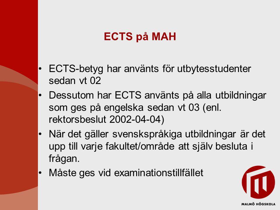 ECTS på MAH ECTS-betyg har använts för utbytesstudenter sedan vt 02 Dessutom har ECTS använts på alla utbildningar som ges på engelska sedan vt 03 (enl.
