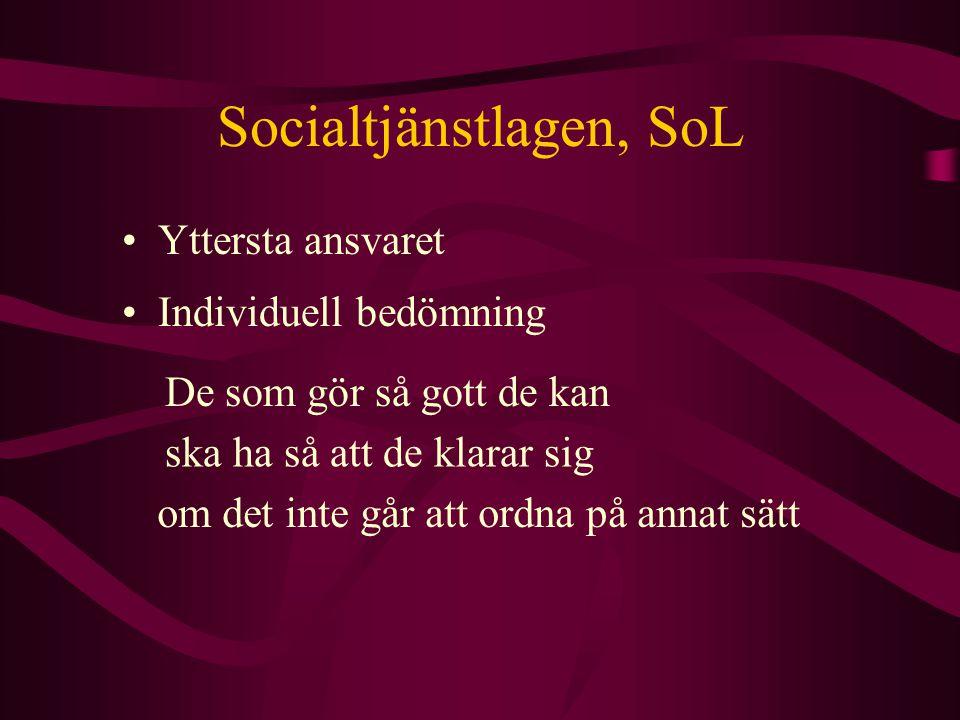 Socialtjänstlagen, SoL Handläggning av ärenden som rör enskilda samt genomförande av beslut om stödinsatser, vård och behandling ska dokumenteras.