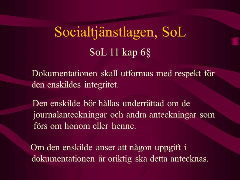 Socialtjänstlagen, SoL Dokumentationen skall utformas med respekt för den enskildes integritet. SoL 11 kap 6§ Den enskilde bör hållas underrättad om d