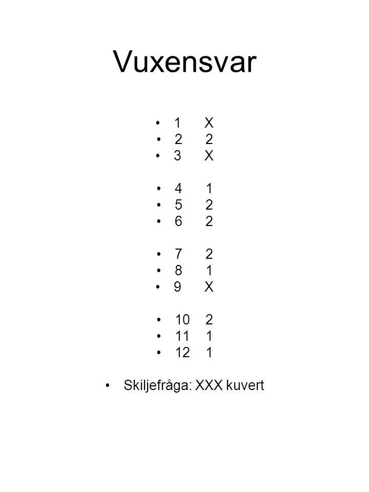Vuxensvar 1X 22 3X 41 52 62 72 81 9X 102 111 121 Skiljefråga: XXX kuvert