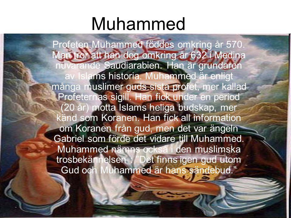 Muhammed Profeten Muhammed föddes omkring år 570. Man tror att han dog omkring år 632 i Medina nuvarande Saudiarabien. Han är grundaren av Islams hist