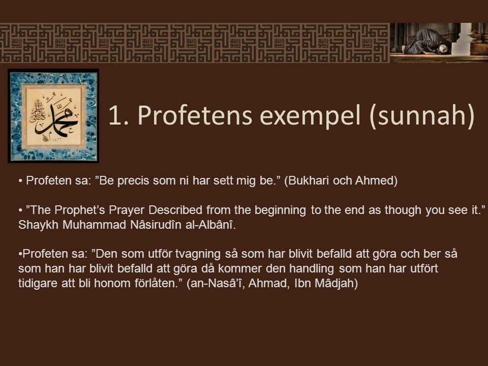 """1. Profetens exempel (sunnah) Profeten sa: """"Be precis som ni har sett mig be."""" (Bukhari och Ahmed) """"The Prophet's Prayer Described from the beginning"""