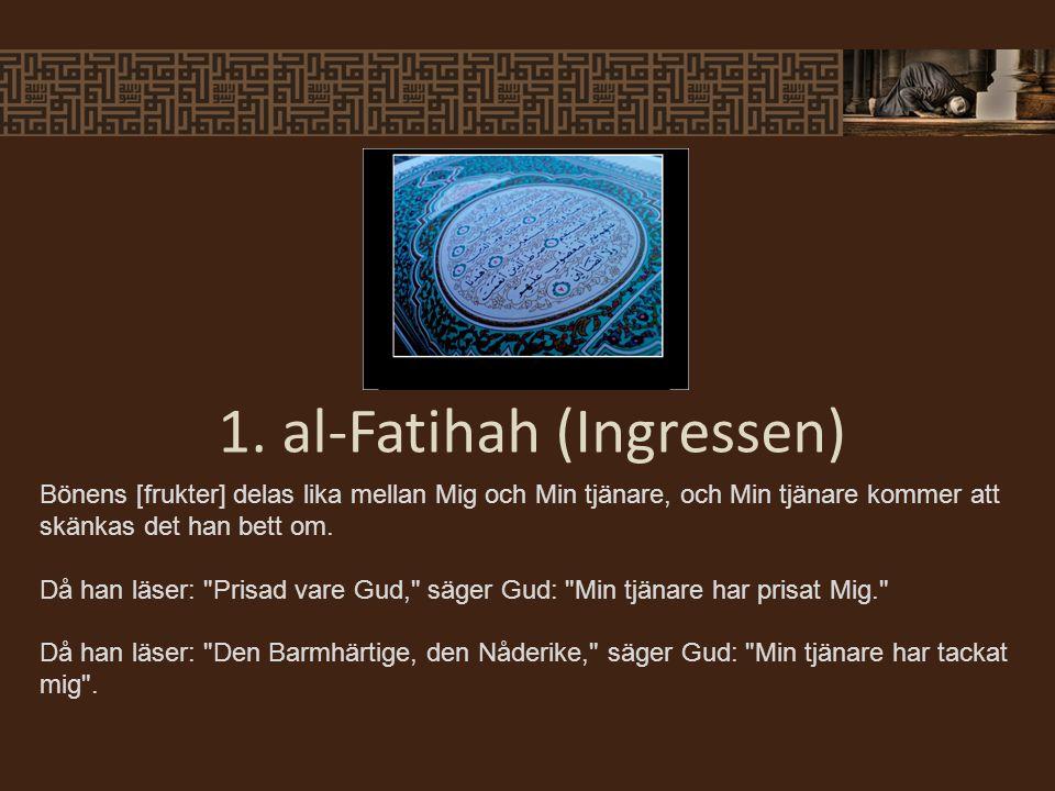 Profeten sa: Bönen i församling är 27 gånger bättre än en ensam persons bön. (Bukhari) Profeten sa: Håll fast vid församlingen för sannerligen slukar vargen det ensamma fåret. (Abû Dawûd) 2.
