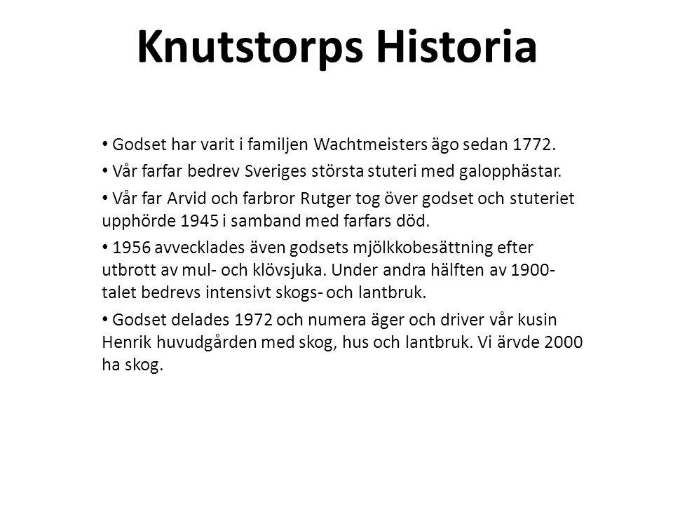 Knutstorps Historia Godset har varit i familjen Wachtmeisters ägo sedan 1772. Vår farfar bedrev Sveriges största stuteri med galopphästar. Vår far Arv