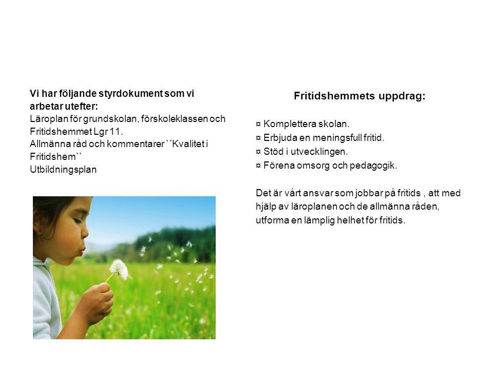 Vi har följande styrdokument som vi arbetar utefter: Läroplan för grundskolan, förskoleklassen och Fritidshemmet Lgr 11.