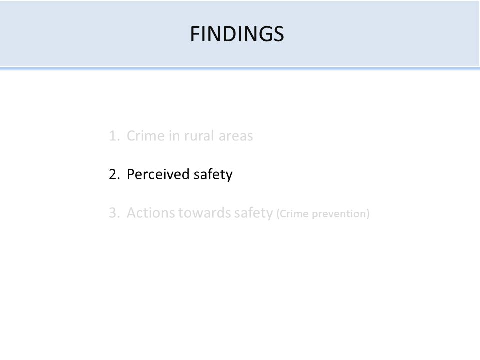 FINDINGS 1.Crime in rural areas 2.Perceived safety 3.Actions towards safety (Crime prevention)