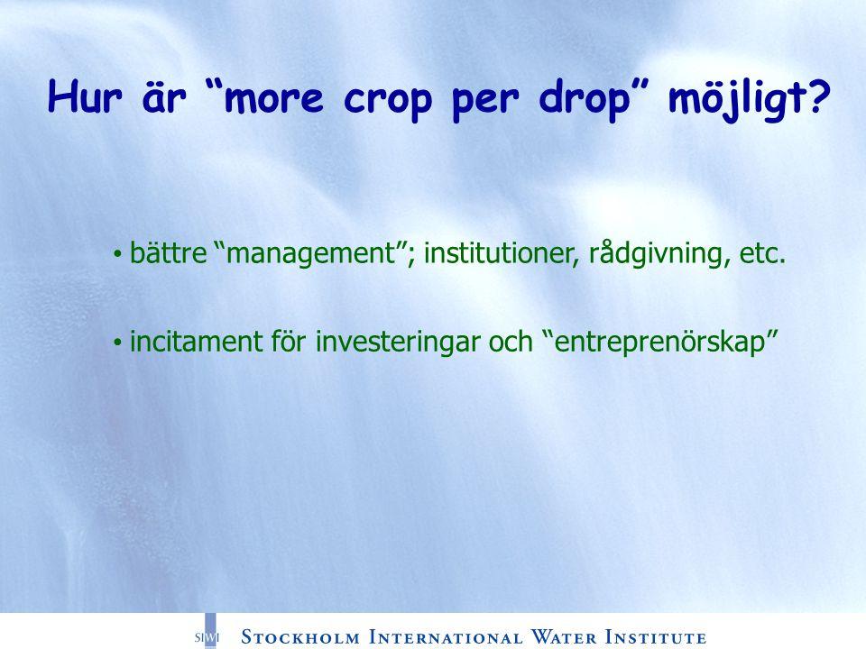 Hur är more crop per drop möjligt. bättre management ; institutioner, rådgivning, etc.