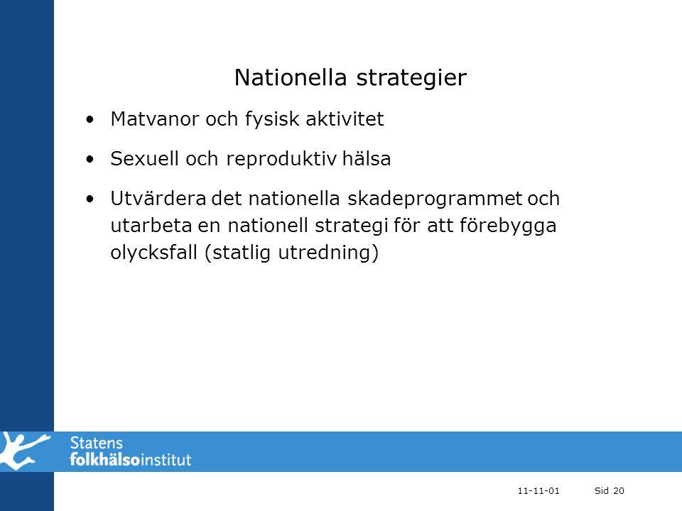Nationella strategier Matvanor och fysisk aktivitet Sexuell och reproduktiv hälsa Utvärdera det nationella skadeprogrammet och utarbeta en nationell s