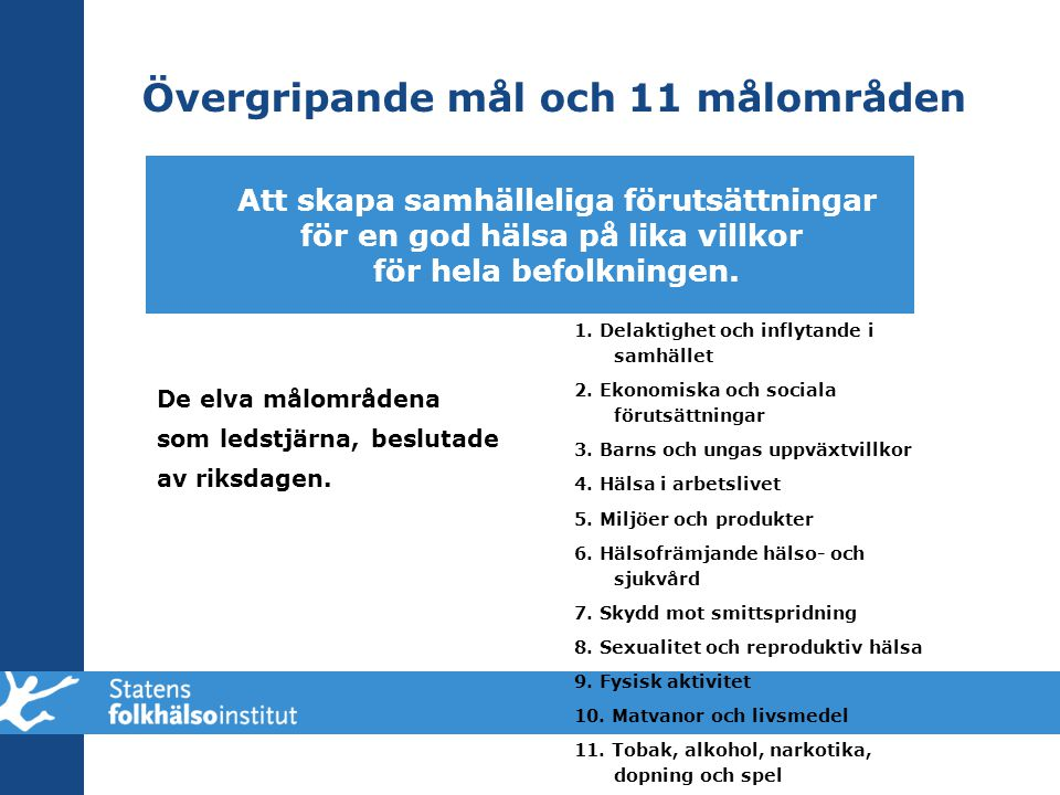 Övergripande mål och 11 målområden De elva målområdena som ledstjärna, beslutade av riksdagen. 1. Delaktighet och inflytande i samhället 2. Ekonomiska