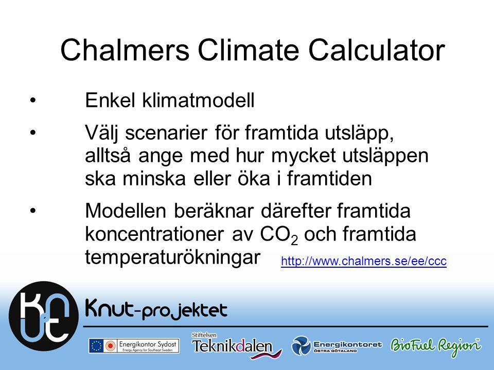 Chalmers Climate Calculator Enkel klimatmodell Välj scenarier för framtida utsläpp, alltså ange med hur mycket utsläppen ska minska eller öka i framti