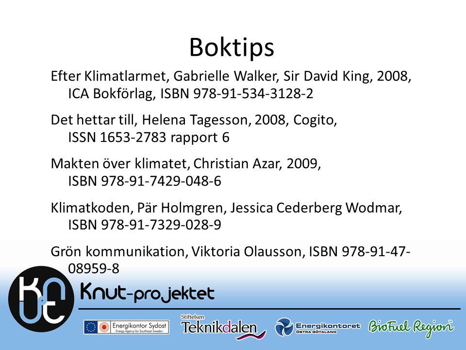 Boktips Efter Klimatlarmet, Gabrielle Walker, Sir David King, 2008, ICA Bokförlag, ISBN 978-91-534-3128-2 Det hettar till, Helena Tagesson, 2008, Cogi
