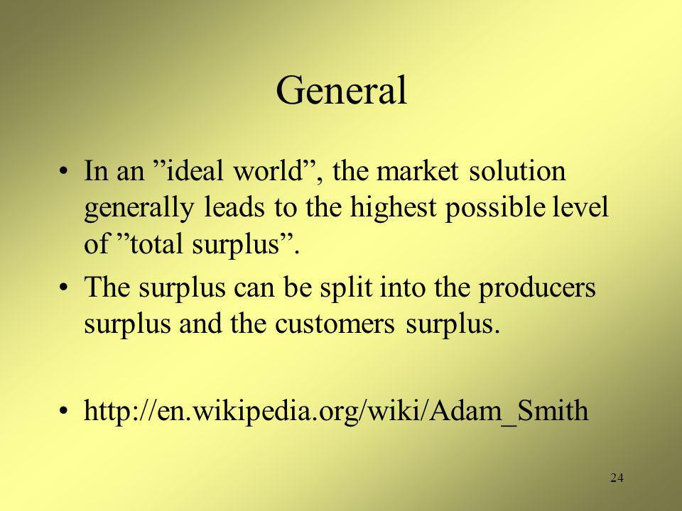 24 General In an ideal world , the market solution generally leads to the highest possible level of total surplus .