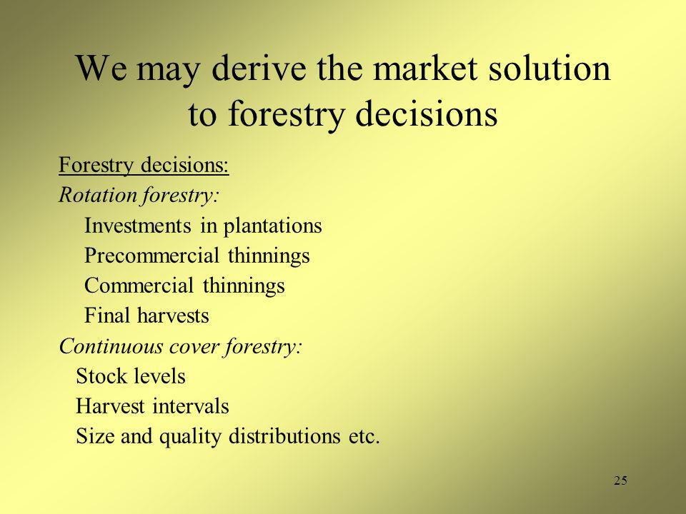 25 We may derive the market solution to forestry decisions Forestry decisions: Rotation forestry: Investments in plantations Precommercial thinnings C