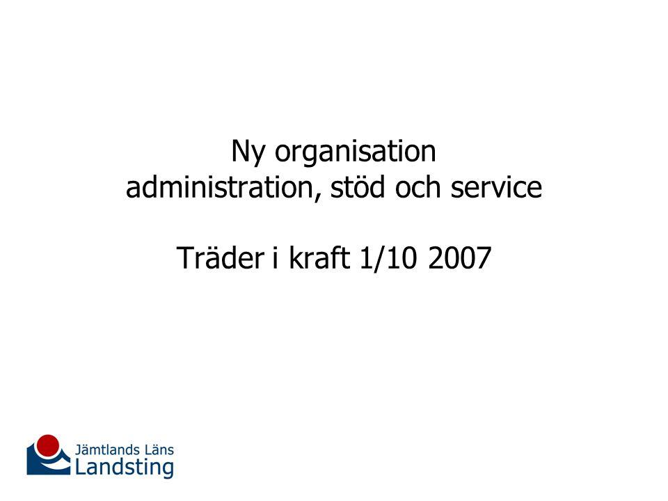 Ny organisation administration, stöd och service Träder i kraft 1/10 2007