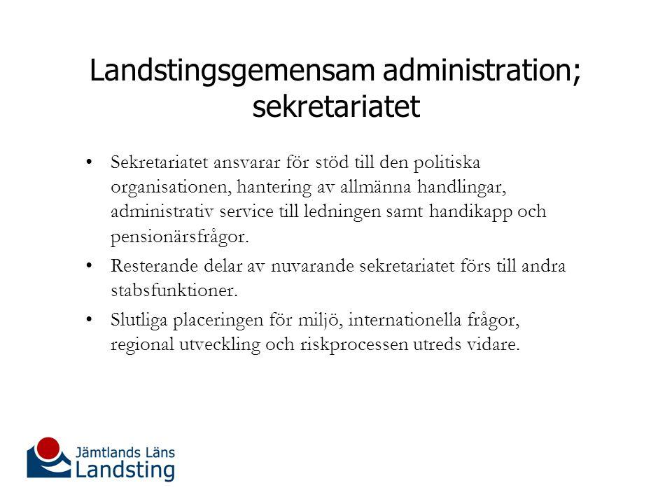 Landstingsgemensam administration; sekretariatet Sekretariatet ansvarar för stöd till den politiska organisationen, hantering av allmänna handlingar, administrativ service till ledningen samt handikapp och pensionärsfrågor.