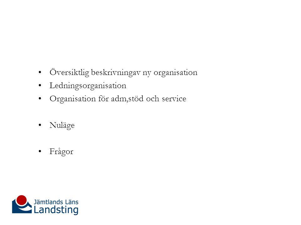 Översiktlig beskrivningav ny organisation Ledningsorganisation Organisation för adm,stöd och service Nuläge Frågor