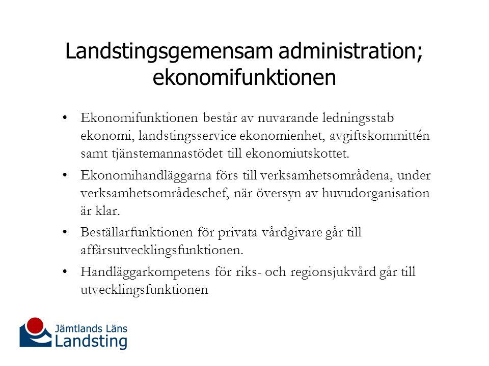 Landstingsgemensam administration; ekonomifunktionen Ekonomifunktionen består av nuvarande ledningsstab ekonomi, landstingsservice ekonomienhet, avgiftskommittén samt tjänstemannastödet till ekonomiutskottet.