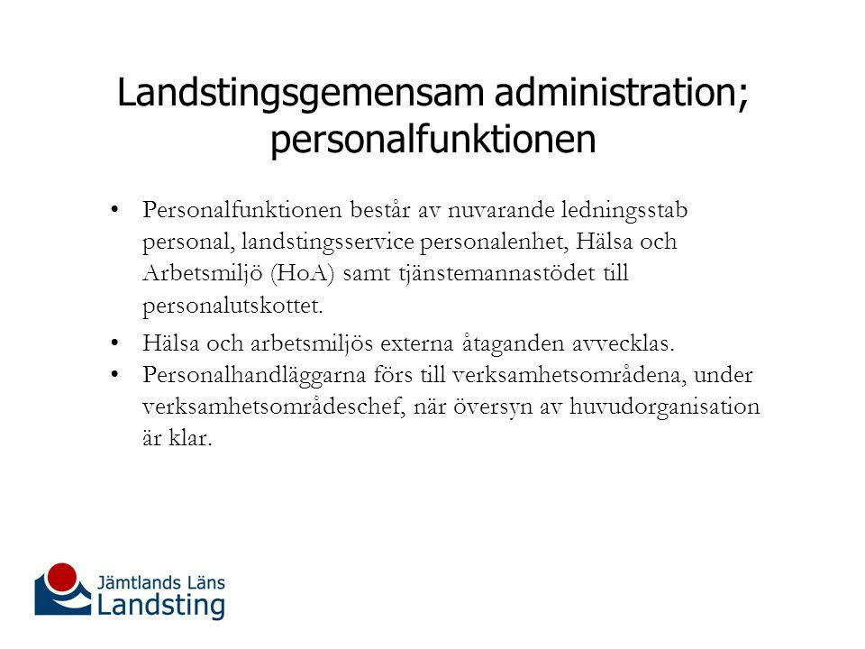 Landstingsgemensam administration; personalfunktionen Personalfunktionen består av nuvarande ledningsstab personal, landstingsservice personalenhet, Hälsa och Arbetsmiljö (HoA) samt tjänstemannastödet till personalutskottet.