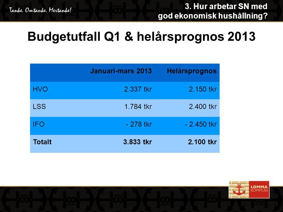 Januari-mars 2013Helårsprognos HVO2.337 tkr2.150 tkr LSS1.784 tkr2.400 tkr IFO- 278 tkr- 2.450 tkr Totalt3.833 tkr2.100 tkr Budgetutfall Q1 & helårsprognos 2013 3.