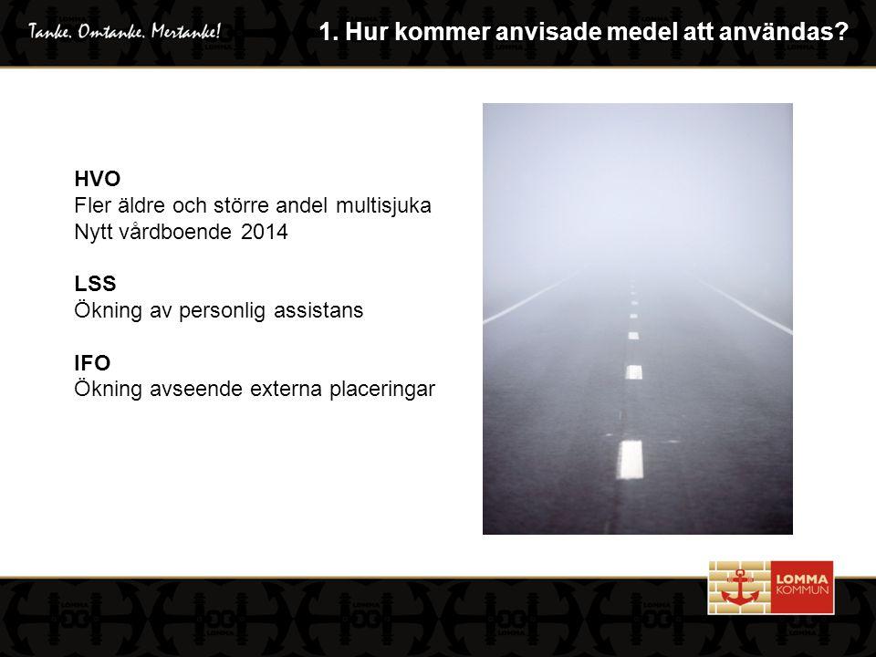 HVO Fler äldre och större andel multisjuka Nytt vårdboende 2014 LSS Ökning av personlig assistans IFO Ökning avseende externa placeringar 1.