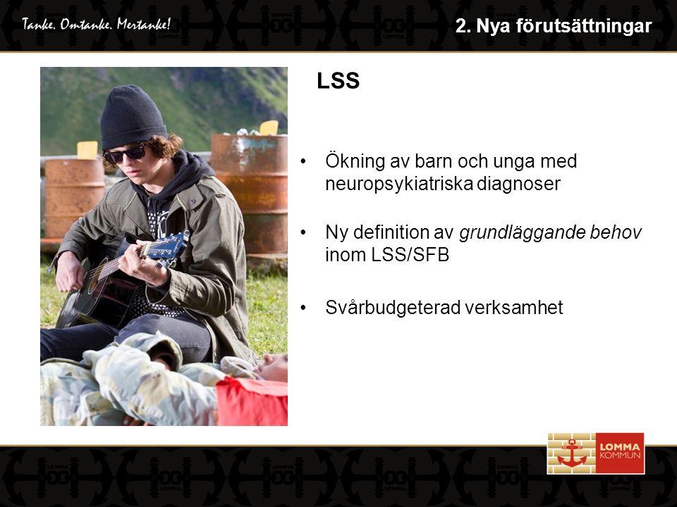 Ökning av barn och unga med neuropsykiatriska diagnoser Ny definition av grundläggande behov inom LSS/SFB Svårbudgeterad verksamhet LSS 2.