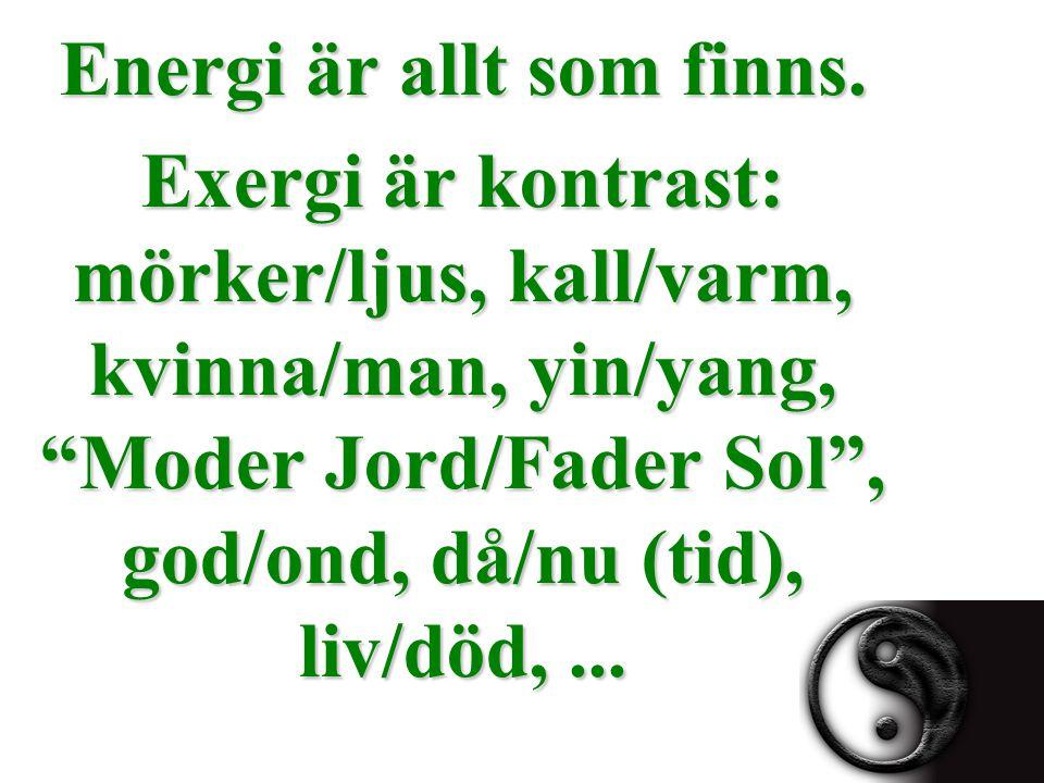 """Energi är allt som finns. Exergi är kontrast: mörker/ljus, kall/varm, kvinna/man, yin/yang, """"Moder Jord/Fader Sol"""", god/ond, då/nu (tid), liv/död,..."""