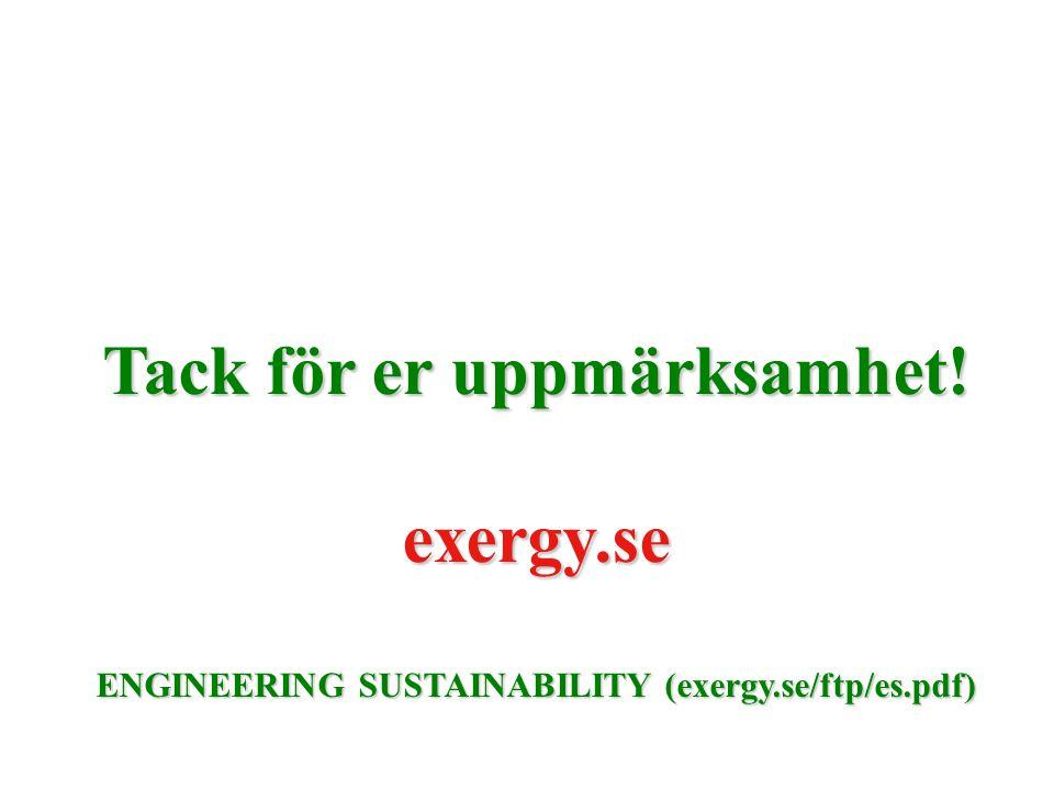 Tack för er uppmärksamhet! exergy.se ENGINEERING SUSTAINABILITY (exergy.se/ftp/es.pdf)