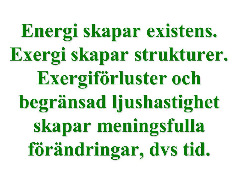 Energi skapar existens. Exergi skapar strukturer. Exergiförluster och begränsad ljushastighet skapar meningsfulla förändringar, dvs tid.