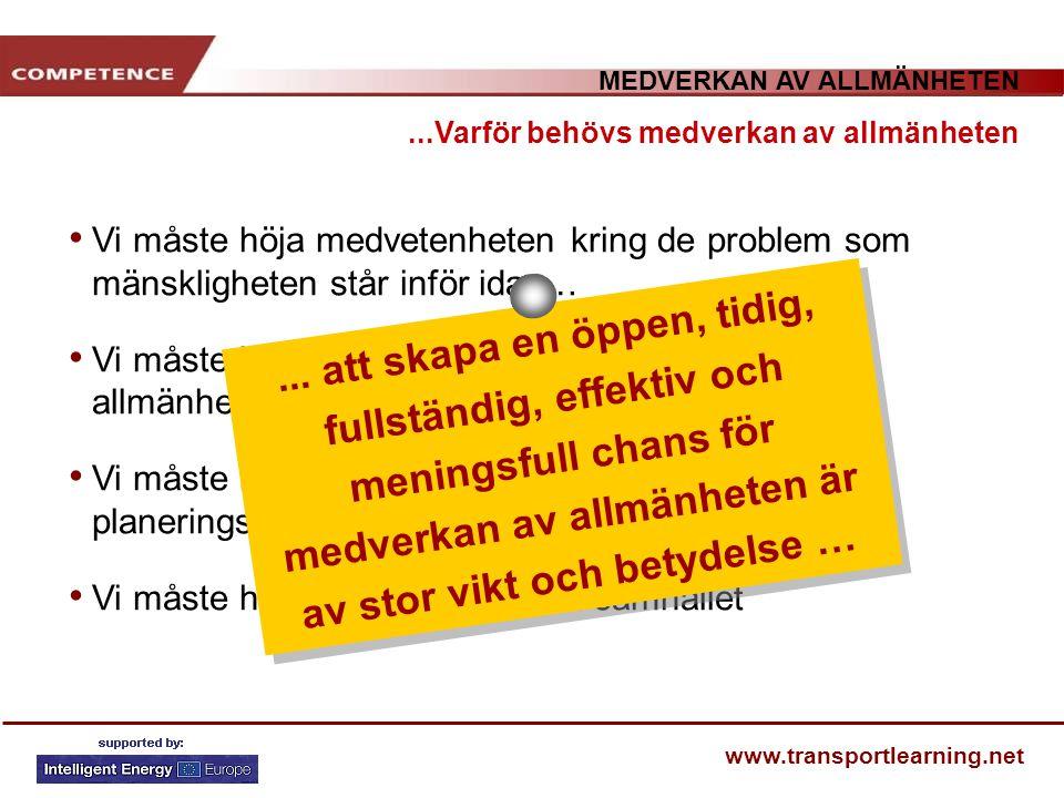 MEDVERKAN AV ALLMÄNHETEN www.transportlearning.net Vi måste höja medvetenheten kring de problem som mänskligheten står inför idag… Vi måste kommunicer