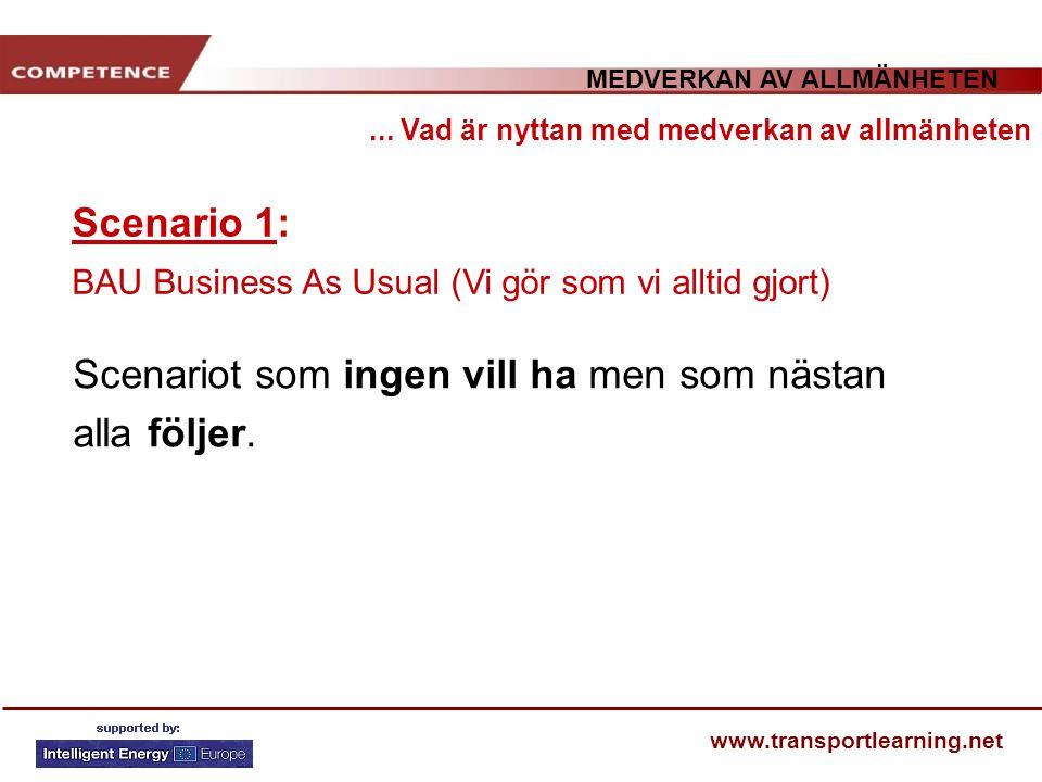 MEDVERKAN AV ALLMÄNHETEN www.transportlearning.net Scenario 1: BAU Business As Usual (Vi gör som vi alltid gjort)... Vad är nyttan med medverkan av al