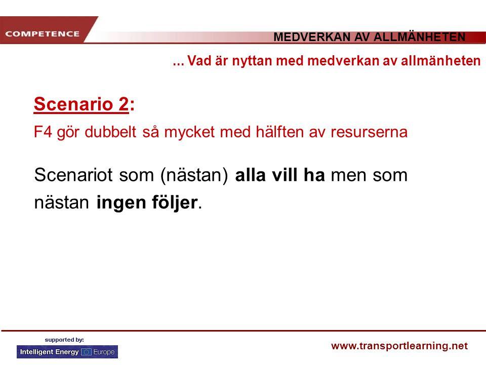 MEDVERKAN AV ALLMÄNHETEN www.transportlearning.net Scenario 2: F4 gör dubbelt så mycket med hälften av resurserna... Vad är nyttan med medverkan av al